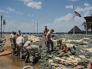Missouri National Guard - Missouri National Guardsmen sandbag the Mississippi River in Clarksville, Missouri, June 2008.