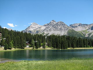 Obersee (Arosa) lake in the municipality Arosa, Graubünden, Switzerland