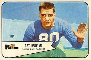 Art Hunter - Hunter on a 1954 Bowman football card