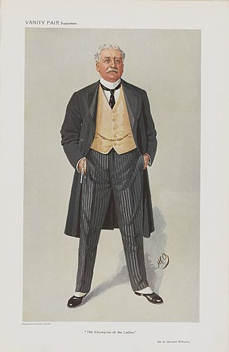 """Sir Osmond Williams, 1st Baronet - """"The Champion of the Ladies"""", caricature by HCO in Vanity Fair, 1909."""