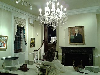 Arts Club of Washington - Interior of the Club before a reception. On the wall is the portrait of James Monroe, who lived at the Cleveland Abbe House at the start of his presidency.