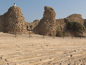 Ashdod-Sea - The castle of Minat al-Qal'a or Castellum Beroart, the western façade with the sea gate flanked by towers