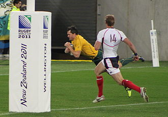 Adam Ashley-Cooper - Ashley-Cooper scoring a try for Australia against the United States at the 2011 Rugby World Cup.