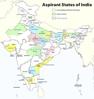 Proposed states and union territories of India Constitutional power of the Indian parliament