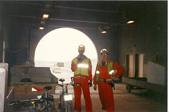 Cycling in the Channel Tunnel - Mike Turner (left) and Wally Michalski (right) inside the French Portal in October 1993 with two Saracen Sahara bicycles they had ridden from the UK construction site