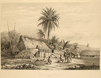"Nuku Hiva - A lithograph from 1846 titled ""Cases de naturels à Nouka-Hiva""."