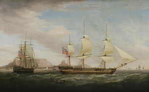 Attrib. to Dominic Serres - A British East Indiamen in Two Positions off Dover.jpg