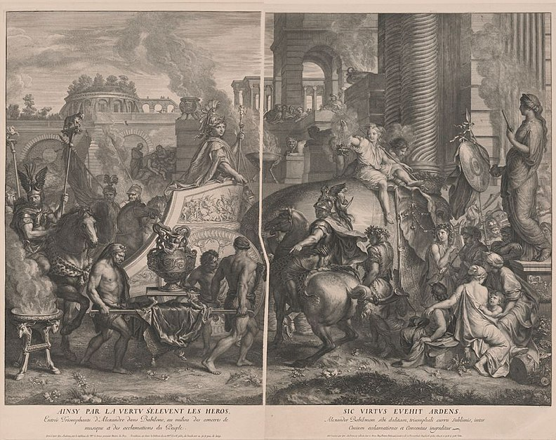 Alexander Entering Babylon. Gerard Audran after Charles LeBrun, original print first published 1675, engraving, National Gallery of Art, Washington, DC, Department of Image Collections. Audran.jpg