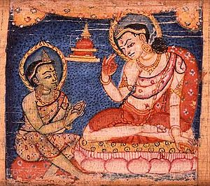 Avatamsaka Sutra - Sudhana learning from one of the fifty-two teachers along his journey toward enlightenment. Sanskrit manuscript, 11-12th century.