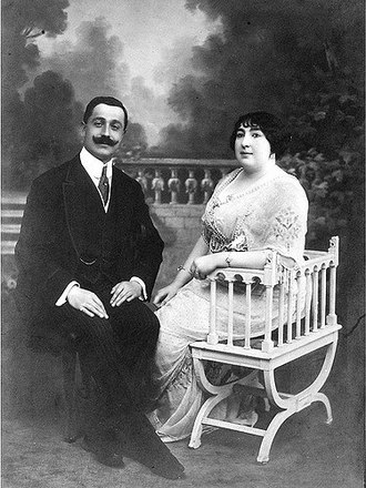 Morning dress - Hamide Ayşe Sultan (1887–1960) with her husband in morning coat and formal trousers