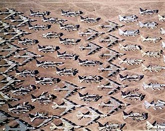 Aircraft boneyard - Boeing B-52s in storage or awaiting dismantlement at the 309th Aerospace Maintenance and Regeneration Group in Arizona, United States.