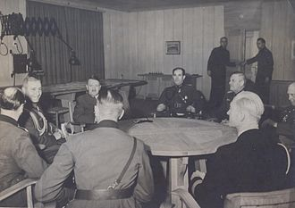 Nikola Mikhov - Meeting between Nikola Mikhov, Adolf Hitler, Wilhelm Keitel (centre right) and Alfred Jodl (far right) in 1943