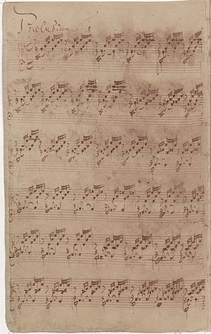 The Well-Tempered Clavier - Bach's autograph (1722) of the first prelude of Book I