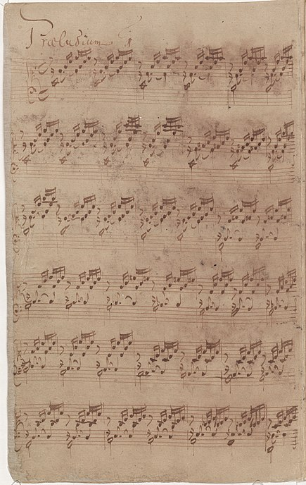 Bach's autograph (1722) of the first prelude of Book I Bach-wtc1-prelude1-ms.jpg