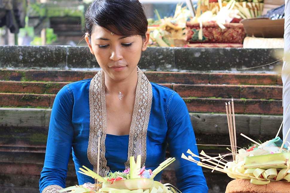 Balinese girl with offering