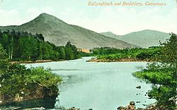 Area view in 1910s; Ballynahinch castle at base of mountain