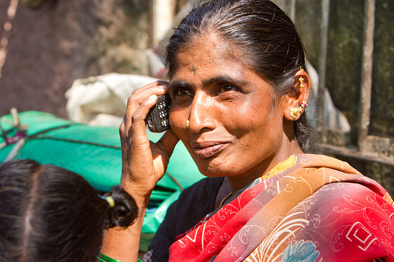 File:Bangalore Woman on Cellphone top November 2011 -23.jpg
