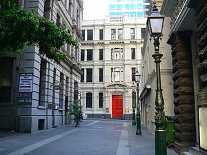 Lanes and arcades of Melbourne - Bank Place looking north toward Little Collins Street toward Normanby Chambers