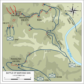 Map of the movements of 3 RAR during the battle as described in the text