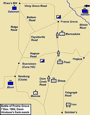 Battle of Prairie Grove map - dawn
