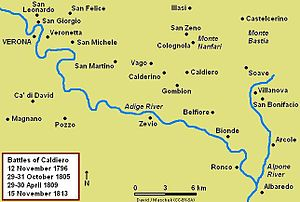 Battle of Caldiero (1805) - Map of the Battle of Caldiero, 29–31 October 1805
