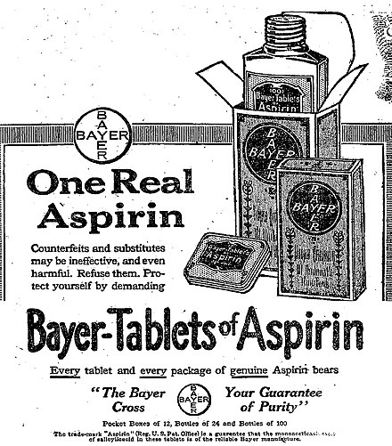 "Bayer began advertising directly to American consumers just before the expiration of the aspirin patent. This ad, from The New York Times, 19 February 1917, emphasizes Bayer as the ""One Real Aspirin"" in anticipation of legal competition in the American market. Bayer Aspirin ad, NYT, February 19, 1917.jpg"