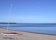 Beach in Au Train Bay in Alger County, Michigan.jpg