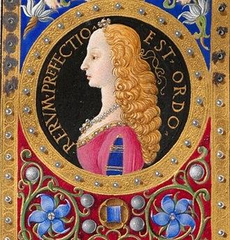 Francesco di Antonio del Chierico - Portrait of Beatrix of Naples (Beatrix of Aragon), Codex Regiomontanus, 15th century; Austrian National Library