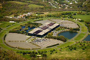 Bell Labs - Old Bell Labs Holmdel Complex.  Located in New Jersey, about 20 miles south of New York.