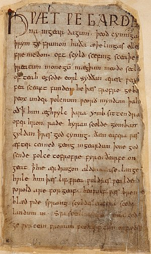 National epic - First page of Beowulf in Cotton Vitellius A. xv