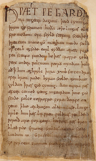 Beowulf - First page of Beowulf in Cotton Vitellius A. xv