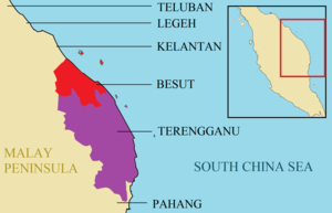 Kingdom of Besut Darul Iman - Part of the northeast of Malay Peninsula in 1890, with the location of the Besut in Red, Terengganu in Purple and other neighbouring coastal Malay kingdoms in light brown.
