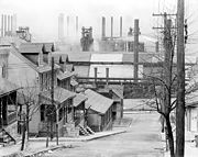 South Bethlehem in 1935, looking north to houses and steel mill