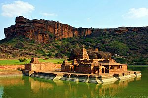 Bhutanatha group of temples, Badami - Bhutanatha temple complex at Badami, 7th century, with the open hall (11th century) extending to the lake.