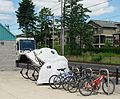Bike racks at Quatama Station - Hillsboro, Oregon.JPG