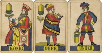 Face card - King, Ober, and Under of Acorns from a Swiss deck (1880)