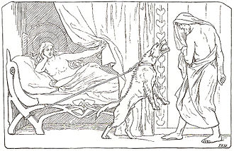 Billingr - Billingr's girl watches on while Odin encounters the bitch tied to her bedpost (1895) by Lorenz Frølich.