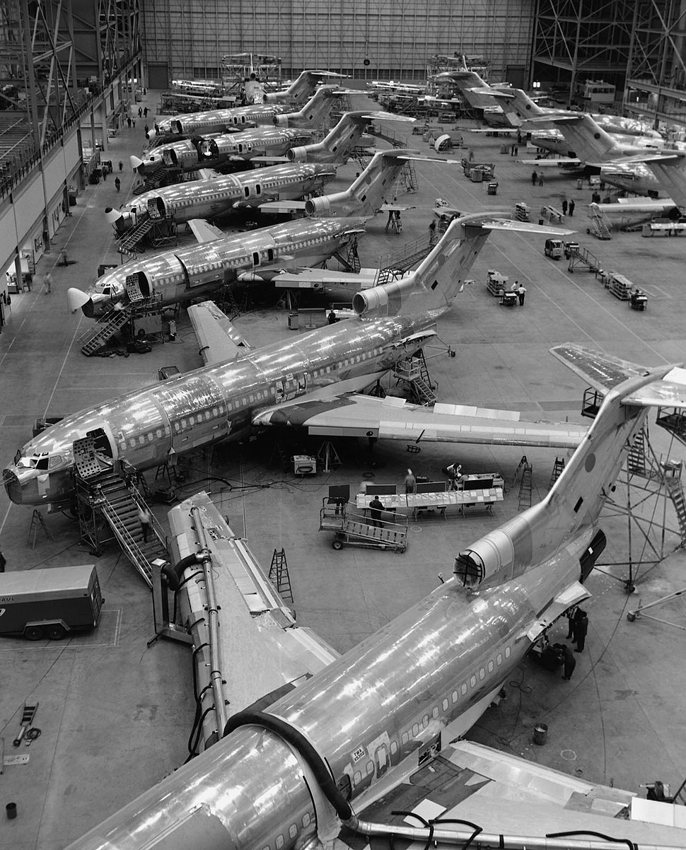 Black and white image of Boeing 727 production