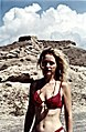 Blonde Woman in red bikini, Santorini Island.jpg