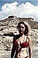 Blonde Woman in red bikini, Santorini Island.jpg