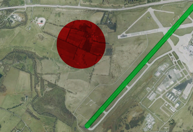 File:Blue Grass Airport, USGS Urban Ortho, approx crash site.xcf