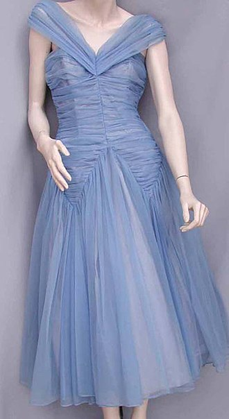 Nylon - Blue Nylon fabric ball gown by Emma Domb, Science History Institute