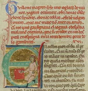 Guillem Magret - Miniature of Guillem found beneath his vida in MS ''I''. He is shown playing dice; he has rolled a five, a four and a three.