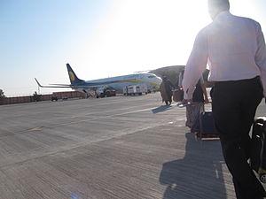 Boarding a Jet Airways flight at Jodhpur Airport.JPG