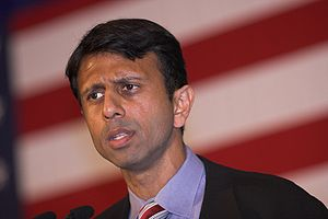Louisiana Governor Bobby Jindal, at campaign e...