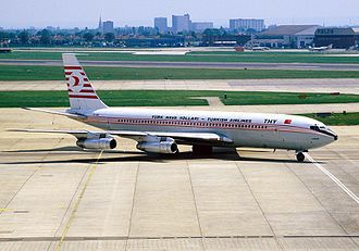 Turkish Airlines - A Boeing 707 operated by Turkish Airlines at Heathrow Airport in 1984.
