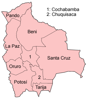 Irrigation in Bolivia - Map of the departments of Bolivia