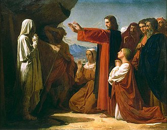 Resurrection - The Resurrection of Lazarus, painting by Leon Bonnat, France, 1857.