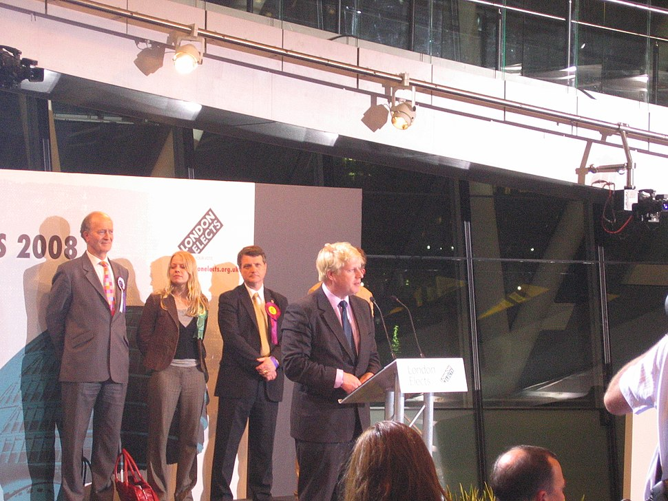 Boris Johnson on the podium
