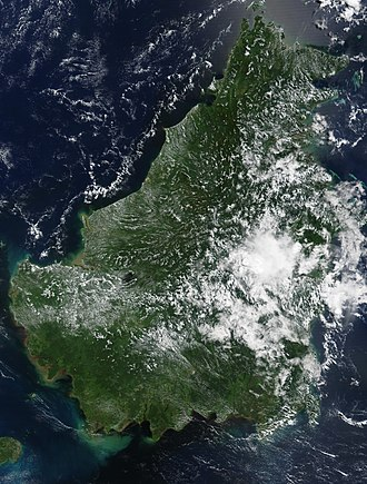 Borneo - NASA satellite image of Borneo on 19 May 2002